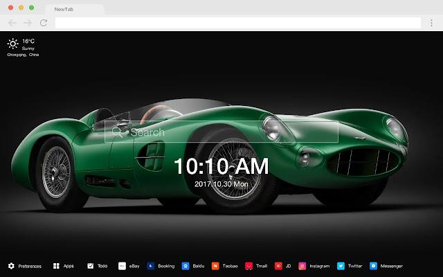 Green car hot car new tab page HD theme