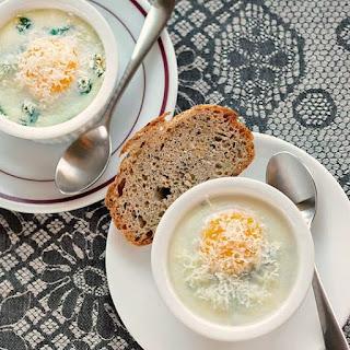 Baked Eggs with Creamy Polenta, Spinach & Garlic