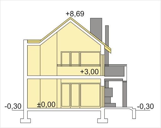 Dakota wersja B z garażem - Przekrój