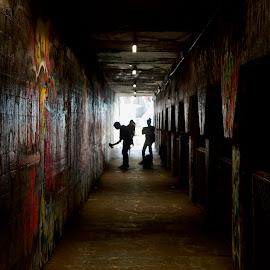 Street Artist in Krog Street Tunnel by Ross Bolen - City,  Street & Park  Street Scenes ( #cabbagetownstreetartmurals, #krogstreettunnel )