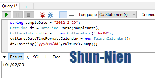 西元年與民國年的轉換 C# | ShunNien's Blog