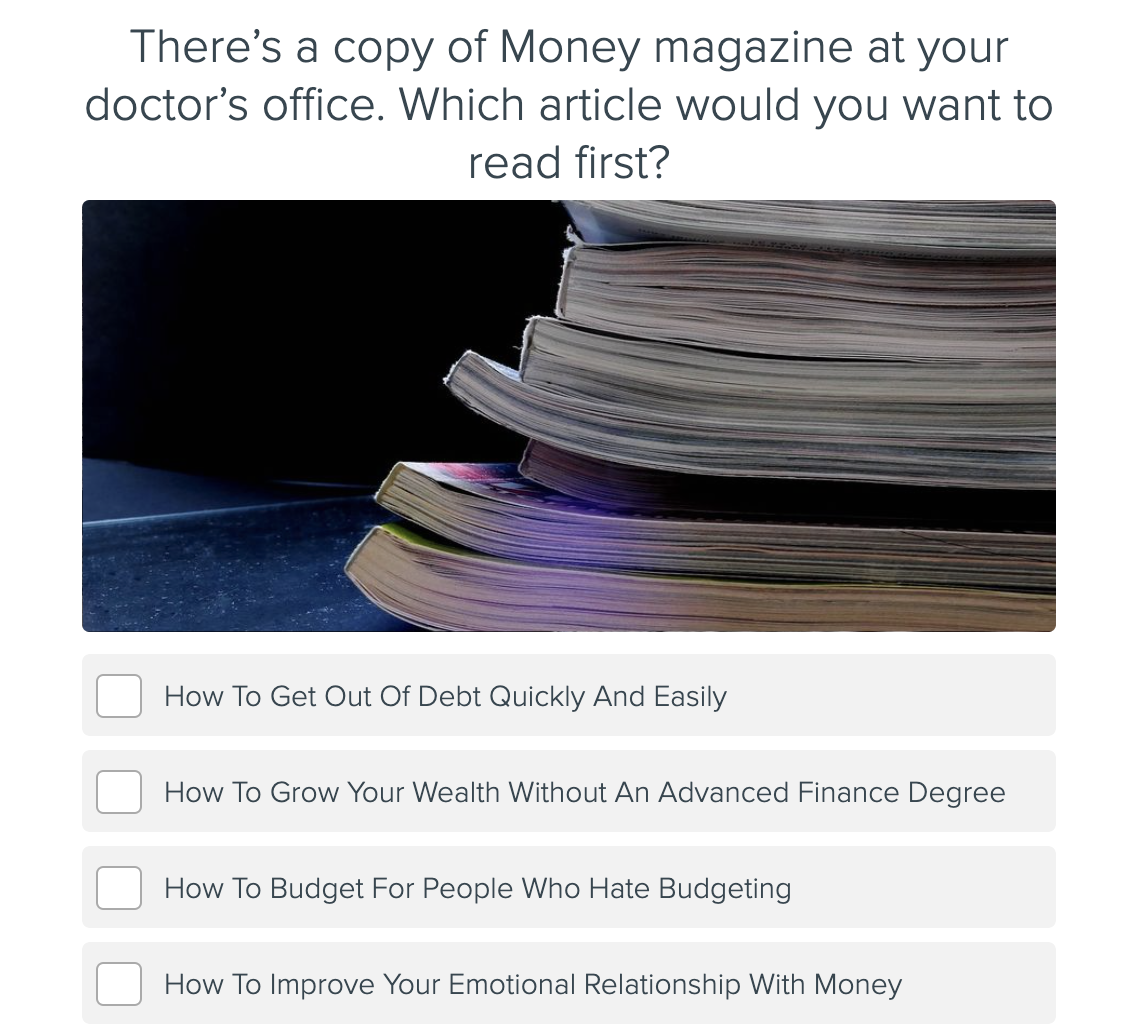 quiz question on article choice for financial new year's resolutions quiz