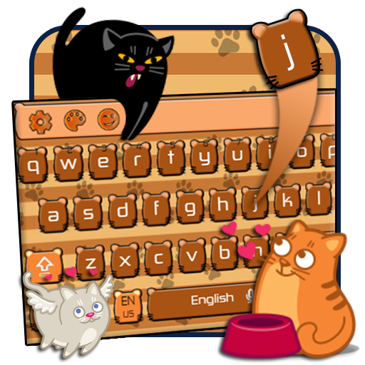 cute cat keyboard brown maine coon