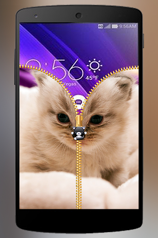 android Lovely Cat Zipper Lock Screenshot 4