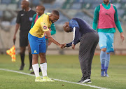 Sibusiso Vilakazi and Pitso Mosimane of Mamelodi Sundowns during the Absa Premiership match between AmaZulu FC and Mamelodi Sundowns at King Zwelithini Stadium on January 04, 2020 in Durban, South Africa.