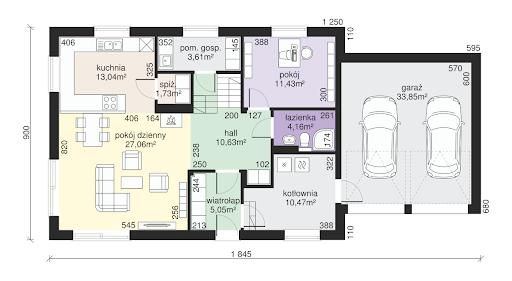 Dom przy Alabastrowej 12 - Rzut parteru