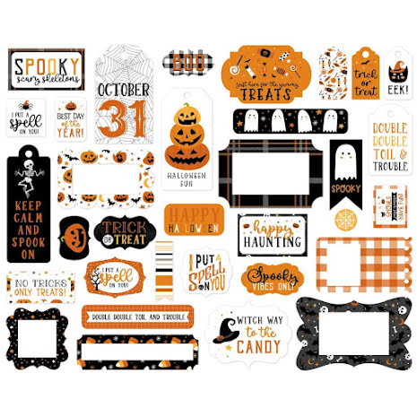 Echo Park Halloween Party Cardstock Die-Cuts 33/Pkg - Frames & Tags