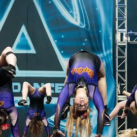 Flipping by Karen Kirchner - Sports & Fitness Other Sports ( cheerleading, sports, black, cheerleading competition, purple )