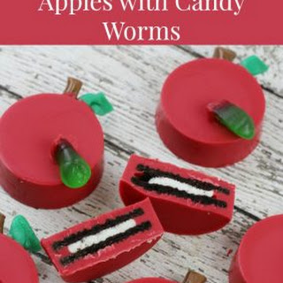 Chocolate Covered Oreo Apples with Candy Worms