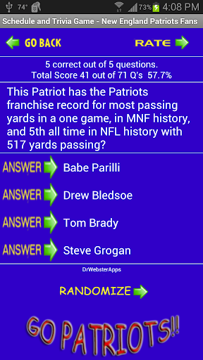 Schedule Trivia Game for New England Patriots Fans 134 screenshots 6