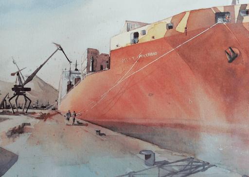 Jeanne PAPA aquarelle  port de Naples_détail_2018_50x70