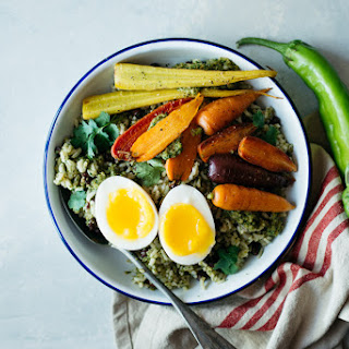 Rice Bowl with Green Pepper Sauce, Roasted Carrots & Eggs