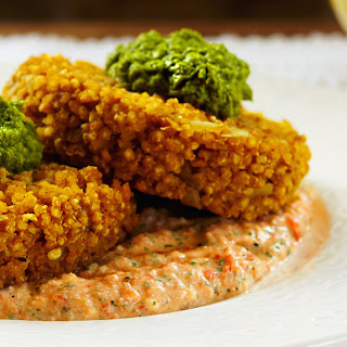 Curried Millet Cakes with Red Pepper Coriander Sauce.