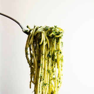 Spaghetti with Pesto and Fresh Herbs.