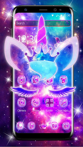 Shiny Galaxy Cute Unicorn Theme ss1