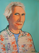 """Photo: Portrait of Jeff ~ acrylic and cloth on paper ~ 29"""" x 22"""""""