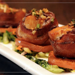 Pan-Seared Scallops with Bacon and Spinach.
