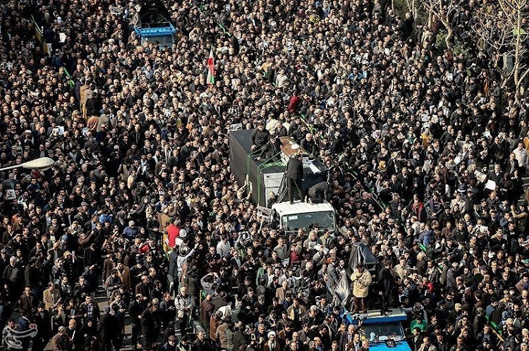 Mourners take part in the funeral of former president Akbar Hashemi Rafsanjani in Tehran, Iran, on Tuesday. Picture: REUTERS/TASNIM NEWS AGENCY