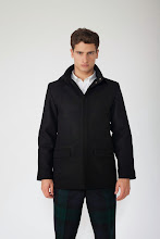 Photo: Black donkey coat with Black Watch trousers