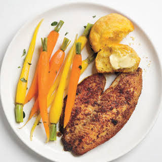 Blackened Tilapia With Buttered Carrots.