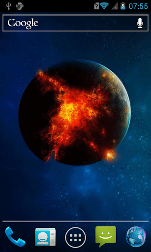 Explosion on a planet Live WP