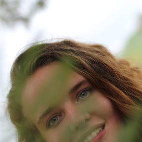 Happiness  by Mariesa Taljaard - People Portraits of Women ( green, leave, different, girl, portrait, blue eyes,  )