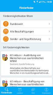 REHADAT-Förderfinder Screenshot