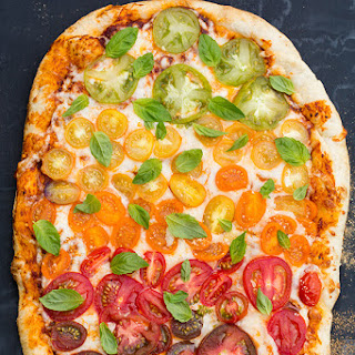 Grilled Rainbow Tomato Pizza