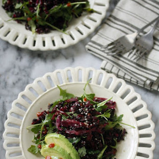 Asian Braised Red Cabbage with Black Rice, Arugula and Avocado