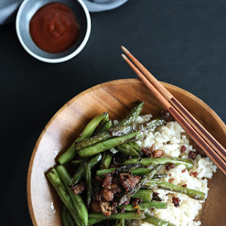 Chinese Stir Fry Green Beans with Pork, Ginger and Chiles.