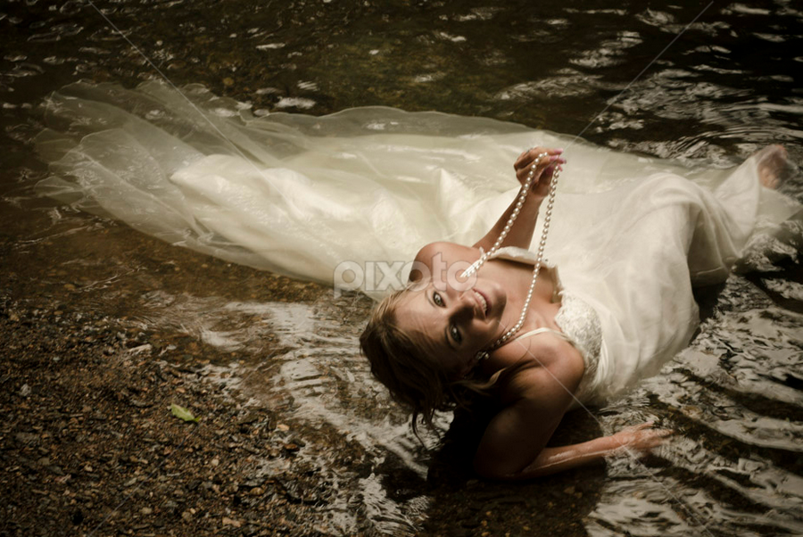 Bride in Water by Terry S. - Wedding Bride ( wedding photo, bride in water, trash the dress )
