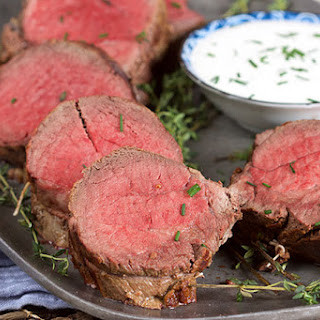 Roast Beef Tenderloin with Creamy Horseradish Sauce.