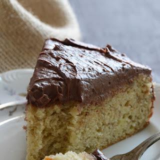 Yellow Banana Cake with Whipped Dark Chocolate Ganache