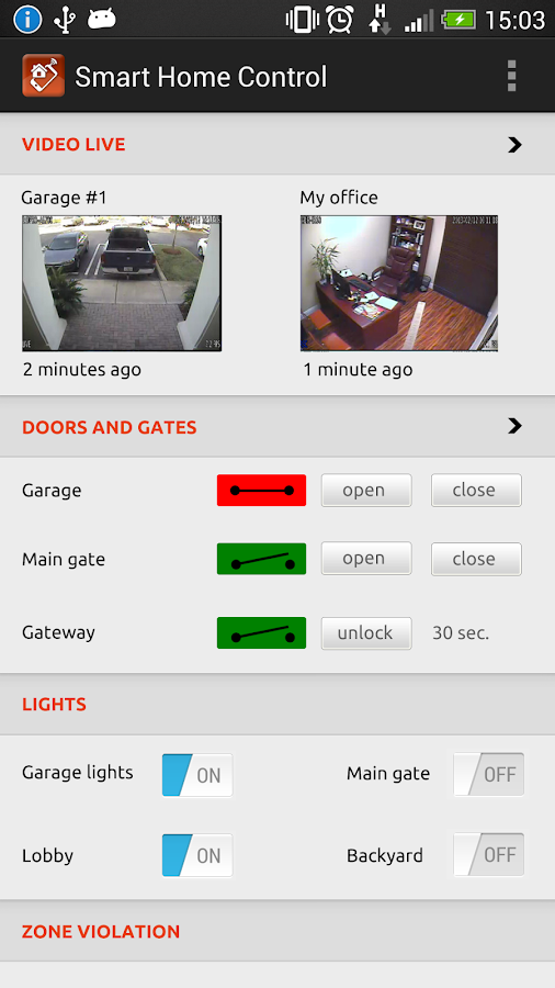 Smart home remote control- screenshot
