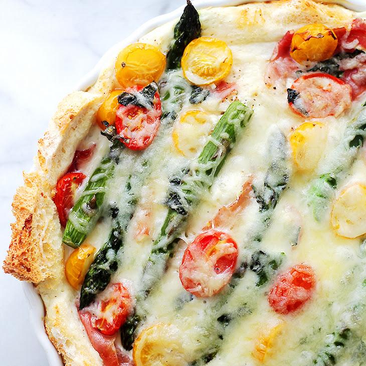 Overnight Breakfast Strata with Prosciutto and Asparagus Recipe