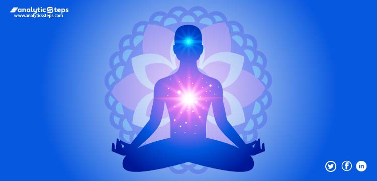 The image showcases a person practicing meditation