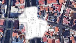 Ubicación de la fuente entre el Paseo y la actual Rueda López (entonces Calle de la Vega).