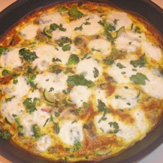 Vegetable Frittata with Fresh Mozzarella and Basil.