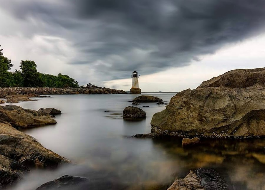 The storm by Kathy Image - Landscapes Cloud Formations ( landscapes, seascape, storm, ocean, lighthouse )