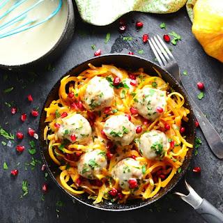 Turkey Meatballs in Fenugreek Sauce with Butternut Squash Spaghetti.