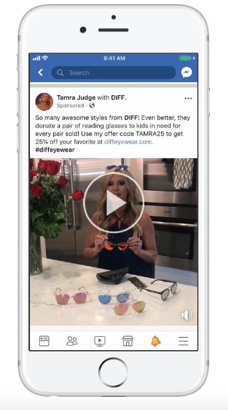 Diff Eyewear Facebook Ad Example