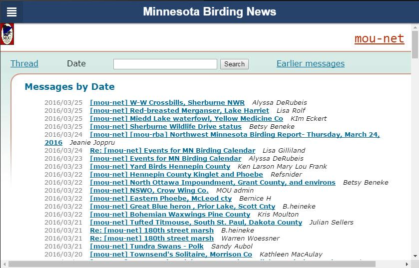 Minnesota Birding News- screenshot