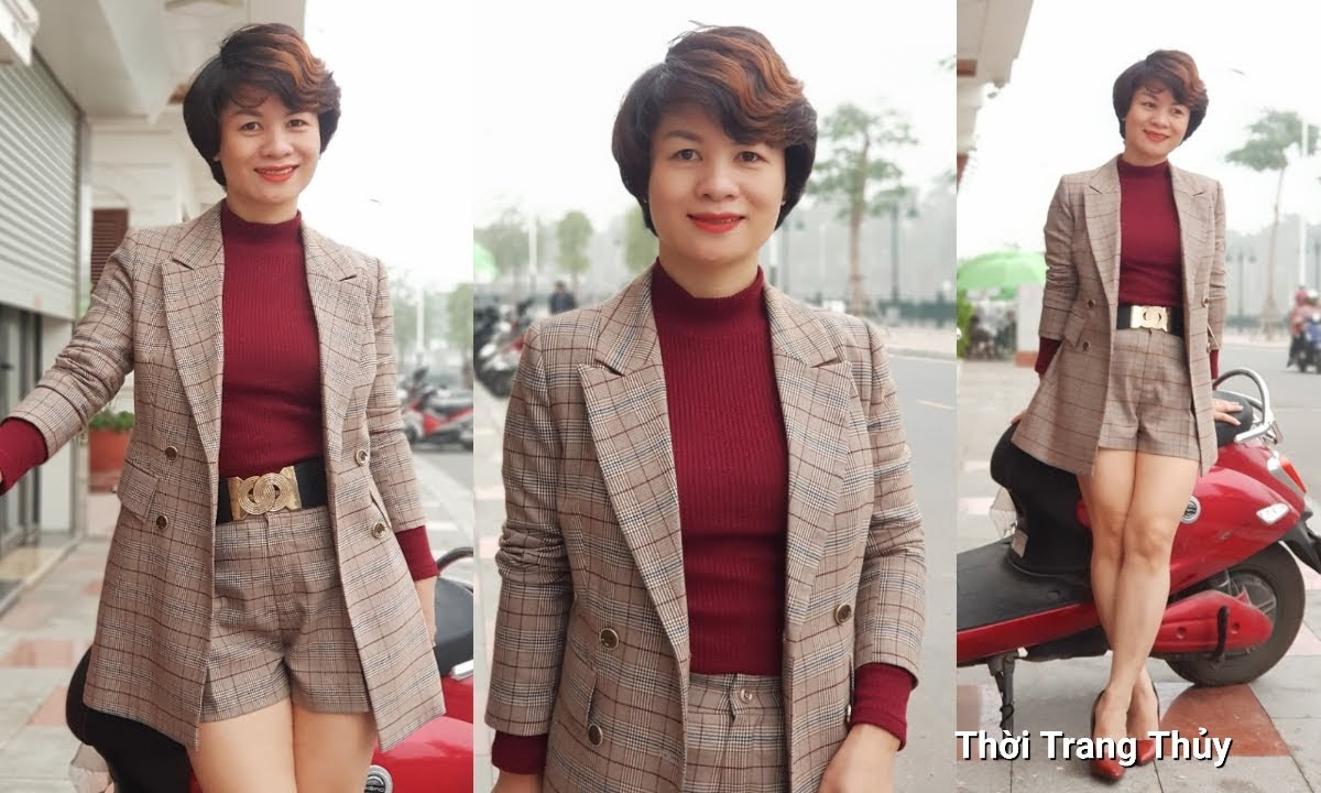 Bộ áo vest nữ dài qua mông và quần short kẻ caro V694 thời trang thủy hải phòng