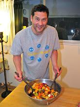 Photo: Jon tossing the salad