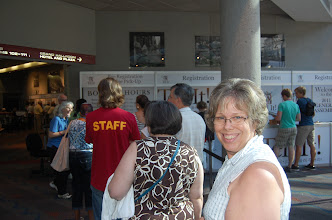 Photo: First order of business is registration.  Jamie Ray waits in line.