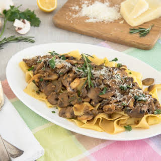 Pappardelle with Sherry Mushroom Sauce.