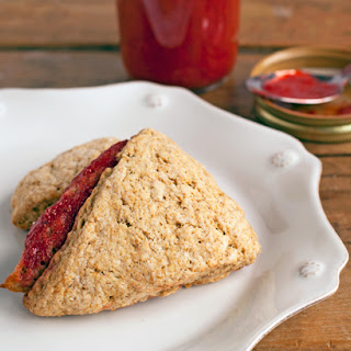 Strawberry Rhubarb Barley Scones