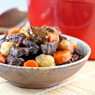Beef Stew with Pearl Onions and Carrots.