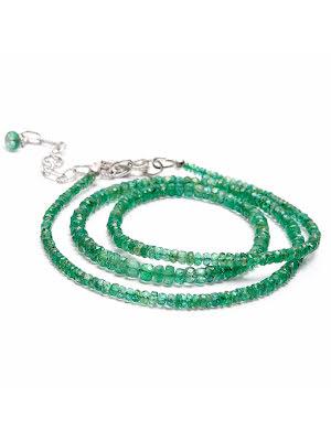 Smaragd, halsband med fasettslipade rondeller