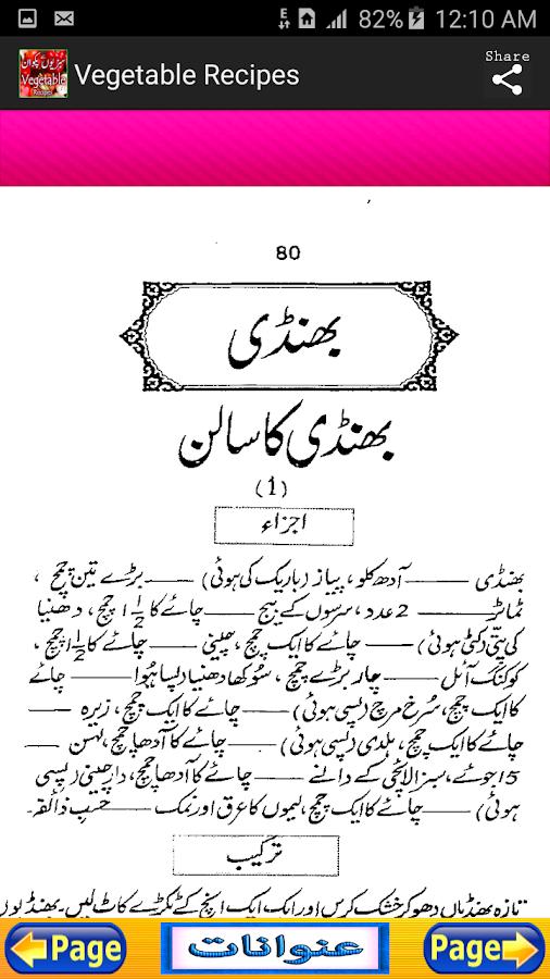 Vegetable Urdu Recipes Screenshot